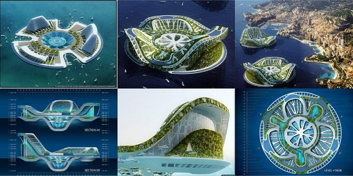 Floating & Rotating Hotel Tower